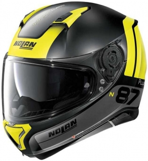 Moto prilba Nolan N87 PLUS DISTINCTIVE N-COM FLat Black Yellow 25
